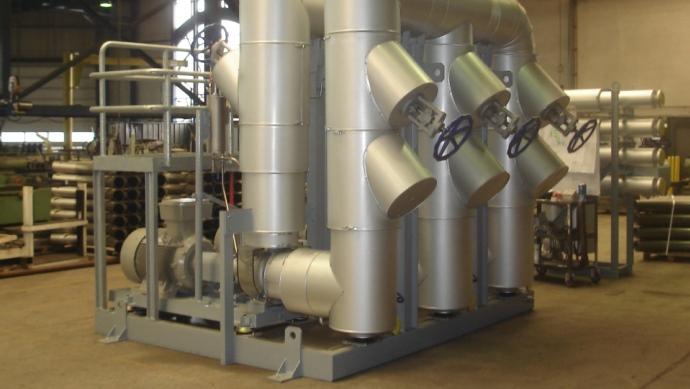 Beheizung mit Rauchgasen aus thermischer Abluftreinigung - Heating with exhaust gas from thermal flue air cleaning