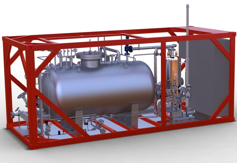 Mobile Testeinheit, Mobile Test Unit (MTU), Containeranlage zur Leistungsmessung von Solar-Loops. Container plant to measure the performance of parabolic trough solar power plants.
