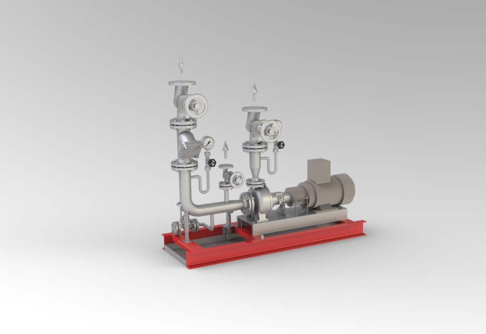Thermoöl Pumpengruppe. Thermal oil pump skids.