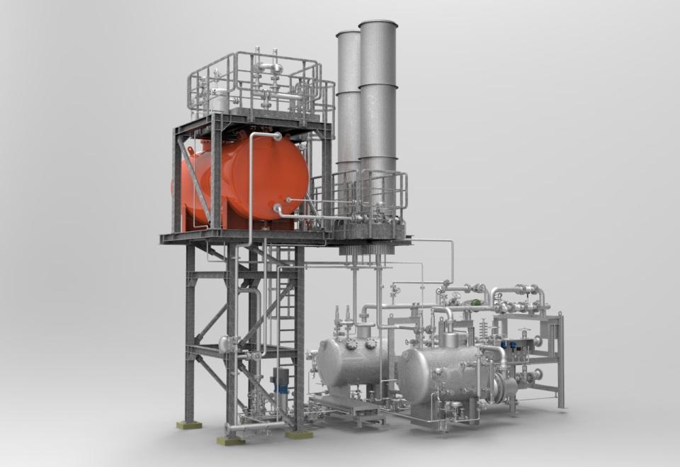 Kompakter, indirekter Dampferzeuger von heat 11. Compact, indirect steam generator.