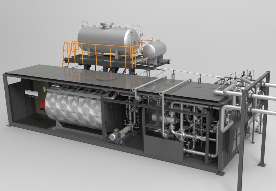 Heiz-Kühleinheit mit befeuertem Erhitzer - eating-cooling unit with fired heater