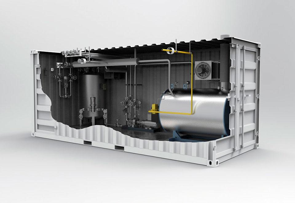 Containeranlagen (befeuerter Erhintzer) mit Pumpe und Behältern. Container plants (fired heater) with pump and tanks.