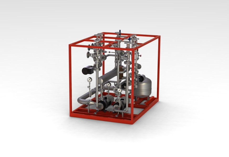 Elektrischem Erhitzer mit Sekundärkreislauf zur Beheizung einer Doppelbandpresse - electric heater with secondary loops and various secondary loops