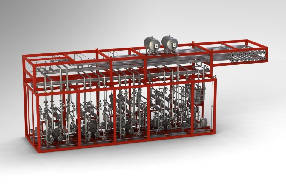 Wärmeträger – Sekundärkreislaufblock als 9-Kreis-Anlage. heat transfer medium – Secondary loop block as 9-loop plant with coolers