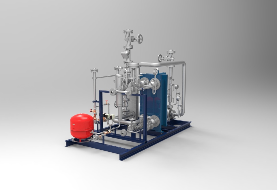 Dampfbeheizte Heiz-Kühl-Anlage von heat 11 für die Kunststoffindustrie. Steam heated heating-cooling plant for the plastics industry.